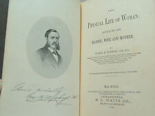 Physical Life of a Woman Book , Autographed,  Dated 1882, (**)