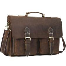 """Men's Genuine Leather Large Leather Messenger Shoulder Briefcase 16"""" Laptop Bag"""