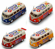 1962 Volkswagen Classical Bus, VW, Peace Love, Diecast Model Toy Car, 5'', 1:32