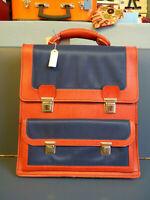 Vintage Leder Schulranzen Aktentasche satchel Blau Rot Neu! 70er 70s