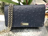 Kate Spade Alexander Avenue Isabeli Ostrich Crossbody Chain Bag Clutch $275 New