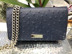 Kate Spade Alexander Avenue Isabeli Ostrich Crossbody Chain Bag Clutch $275 New