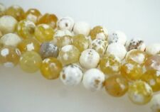 Yellow fire agate beads. 10mm faceted agate beads. Yellow and white. Full strand