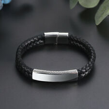 Black Men's Stainless Steel Leather Bracelet Magnetic Silver Clasp Cuff Bangle
