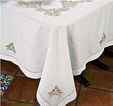 "$650 Schweitzer Italy New Casabella Tablecloth 100% Linen 70""x160"" Alencon Lace"