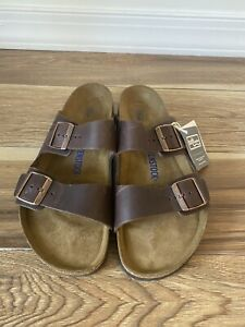 Birkenstock Arizona Sandals Habana Leather Soft Footbed 43 Men 10 NEW FREE SHIP