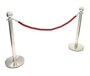 2 x Silver Metal Posts plus a red rope, Post and Ropes, Queue Systems, VIP Posts