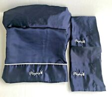 Playboy Bunny Satin Sheet Set Bunny And Spellout Logo Full 4 Pc Navy