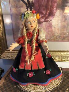 Beautiful! Antique Lenci Girl Doll In Regional Costume all Original