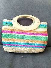 Mini Straw Bag With Wooden Handle