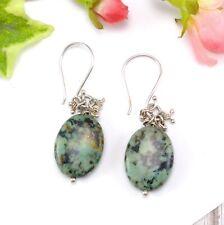 Silver Plated Oval Green Black Jasper Agate Bead Drop Earrings - Pierced ears