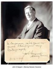 John G Sargent Autograph Attorney General Vermont Tufts College Dartmouth