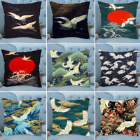 Bird Cranes Chinese Style Square Throw Cushion Cover Pillow Case Home Sofa Decor