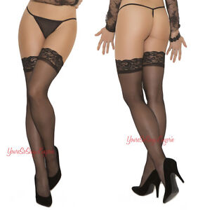 """Plus Size Sheer LACE TOP STOCKINGS THIGH CAN STRETCH 29"""" AROUND TOP Queen"""