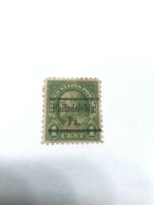 1 Cent Lime Green Ben Franklin US Postal Stamp with Philadelphia, PA precancel