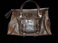 Chloe Brown Distressed Leather Edith Satchel Bag Purse Handbag Italy
