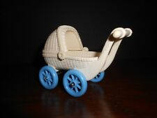 Vintage FISHER PRICE Loving Family Dollhouse STROLLER Baby Pram 1990's Wht/Blu