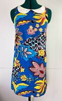 Revival Ladies 70's Style Peter Pan Collared Mini Dress Vibrant Floral Size 8