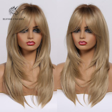 Ombre Light Brown Layered Wavy Synthetic Hair Cosplay Wigs for Women with Bangs