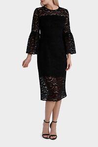 JAYSON BRUNSDON Georgie Black Lace Shift Dress With Bell Sleeve (10) -NEW W Tags