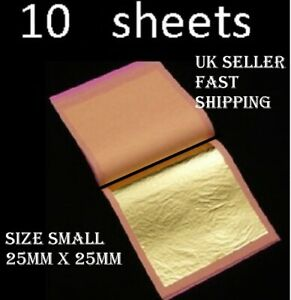 10 mini  SHEETS  E-175.FOOD GRADE  100% Pure 24k Gold Leaf Edible Cake Baking