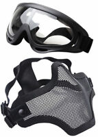 Skull Airsoft Tactical Half Face Mask Steel Mesh and Goggles Equipment Set