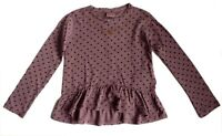 ZARA Girls MAUVE DOTTY Embroidered Graduated Blouse Peplum Top 4-14y £10.99