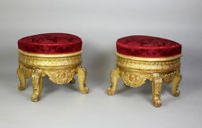 A Pair Of Large & Ornate Carved Gilt Wood Stools