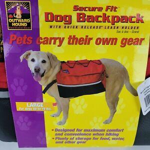 Outward Hound Quick-Release Dog Backpack Saddle Bag Pet Travel Hiking Red L