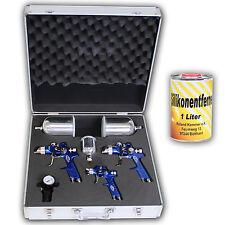 3x HVLP Lackierpistole Spritzpistole+ Koffer + Silikonentferner 1,7 1,3 0,8mm
