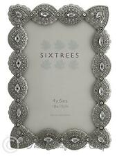 Sixtrees Cecilia Vintage Ornate silver 6x4 inch photo frame with beads crystals
