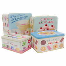 LARGE SET OF 4 CAKE TINS SHABBY CHIC BAKING KITCHEN STORAGE BISCUIT CUPCAKE GIFT