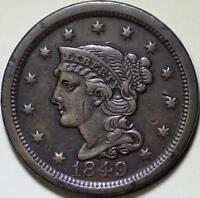 1849  Braided Hair Large Cent - ** VF+ **  N-12, R1 - Die State B