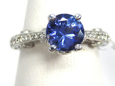 Tanzanite Ring 14K White Gold Pave Filigree Antique Heirloom AAA+ 1.73ct $5,337