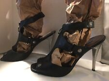 Bisou Bisou Sexy W/ Zipper & Strap Black High Heels Size 9 Rocker Style