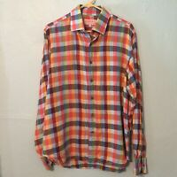 INSERCH Men's Long Sleeve Multi Color Plaid Shirt 100% Linen Size Large