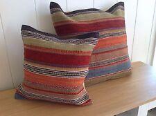 ❤️ Ooty Stripe Kilim Cushion Cover Cotton Zip Backing 45cm x 45cm Multi Colour