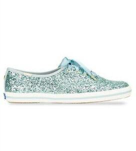 NIB Kate Spade X Keds Sparkle Champion Glitter Sneaker Light Blue US Size 8.5