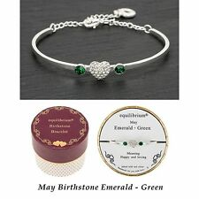 Equilibrium Birthstone Bangle May Emerald/Green Jewellery Gift Womens Accessory