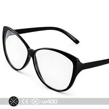 Vintage Black 50s Cat Eye Cateye Shaped Clear Sunglasses Glasses Free Case S008