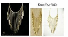 Choker Chain Necklace Long Tassels Large Rivets Gothic Punk Styled