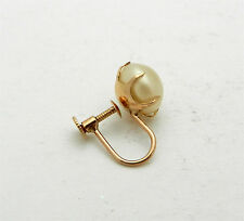 SINGLE -one-Vintage 10k Pink Rose Gold FAUX PEARL screw back earring -ONE-