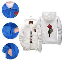 Men Zip Fashion Full Jackets Rose Windproof Coat Windbreaker Women Water/ Unisex