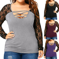 Women Lace Plus Size T-shirt Long Sleeve Lady Casual Tops Blouse Pullovers L-5XL