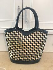 Lulu Guinness Women's Vintage Straw Tote Bag Purse Handbag Patent Leather EUC