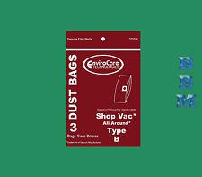 3 ShopVac All Around Type B 2 Gallon 9066800 Bags Wet/Dry Vac Vacuum EZ QAM70