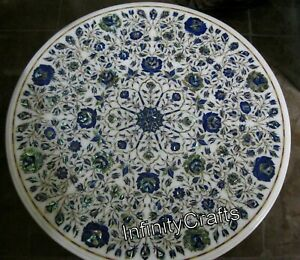 30 x 30 Inches Marble Office Table Top Inlay with Floral Design Dining Table