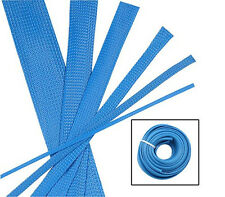 BLUE Wire and Hose Sleeve Sleeving Kit Braided Cover Loom Protector Stereo Heat