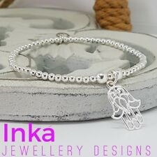 Inka 925 Sterling Silver beaded Stacking Bracelet with a Hamsa Fatima Hand charm