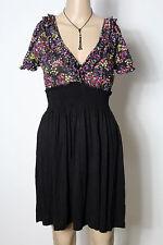 MANGO Kleid Gr. S/M schwarz-bunt kurz/mini Kurzarm Empire Blümchen Shirt Kleid